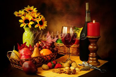 Beautiful still life image of red wine, fruits and nuts with dramatic lighting Stock Photo - Royalty-Free, Artist: neelsky                       , Code: 400-05359646
