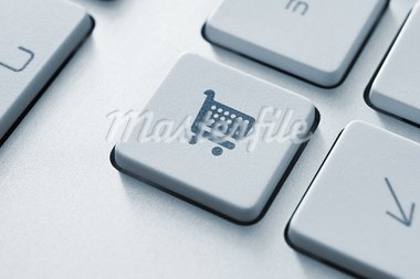 Shopping cart icon on keyboard key. Toned Image. Stock Photo - Royalty-Free, Artist: bloomua                       , Code: 400-05360260