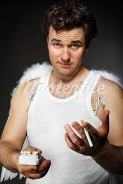 Mr. Angel with cigarettes. Crazy character portrait Stock Photo - Royalty-Free, Artist: DashaPetrenko                 , Code: 400-05360295