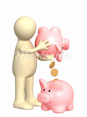 Puppet with piggy bank. Isolated over white Stock Photo - Royalty-Free, Artist: frenta                        , Code: 400-05362728
