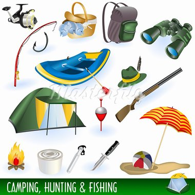 A collection of different illustrations : camping, hunting and fishing images. Stock Photo - Royalty-Free, Artist: Stiven                        , Code: 400-05364062