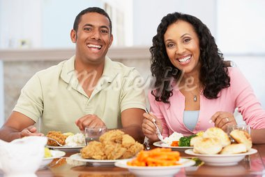 Couple Having Lunch Together At Home Stock Photo - Royalty-Free, Artist: MonkeyBusinessImages          , Code: 400-05364296