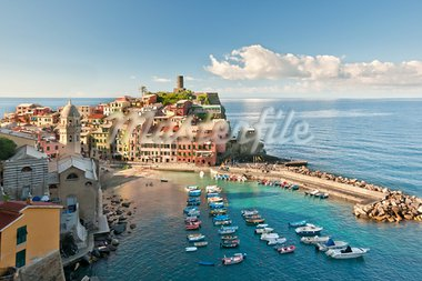 Small town Vernazza (Cinque Terre, Italy) Stock Photo - Royalty-Free, Artist: grafalex                      , Code: 400-05366834