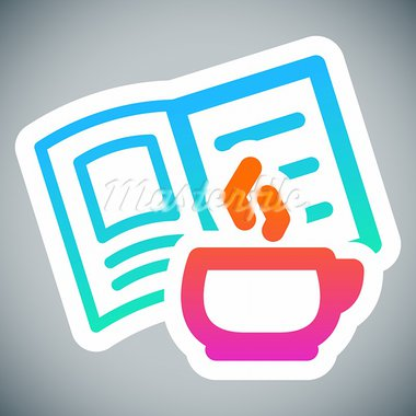Reading icon on grey background: hot cup and book Stock Photo - Royalty-Free, Artist: furtaev                       , Code: 400-05367604
