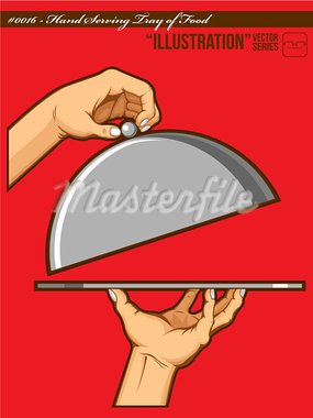 An isolated vector of hands opening a tray of food. Good for many application, especially for logo of restaurant or such.  Available as a Vector in EPS8 format that can be scaled to any size without loss of quality. The graphics elements, both hand and tray, are all can easily be moved or edited individually. Stock Photo - Royalty-Free, Artist: BluezAce                      , Code: 400-05367616
