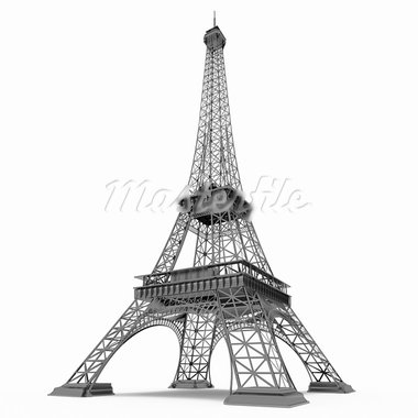 Eiffel Tower in Paris isolated on white background Stock Photo - Royalty-Free, Artist: Enki                          , Code: 400-05368068