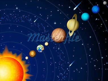 Vector illustration - Solar system background Stock Photo - Royalty-Free, Artist: Jut                           , Code: 400-05368270