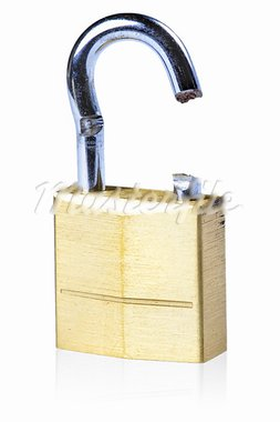 Image of a broken gold lock with a white background Stock Photo - Royalty-Free, Artist: ruigsantos                    , Code: 400-05370413