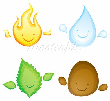 Four elements in the form of smiling characters Stock Photo - Royalty-Free, Artist: serazetdinov                  , Code: 400-05370517