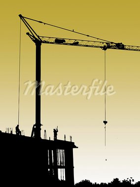 Construction site with crane and workers.Set concrete and form work Stock Photo - Royalty-Free, Artist: deyangeorgiev                 , Code: 400-05370553
