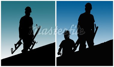 Construction workers work on building site. Stock Photo - Royalty-Free, Artist: deyangeorgiev                 , Code: 400-05370563