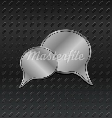 Illustration shiny metallic speech bubbles on aluminum backgrounds - vector Stock Photo - Royalty-Free, Artist: smeagorl                      , Code: 400-05370721