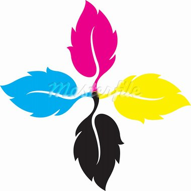 Illustration art of cmyk leaf with isolated background Stock Photo - Royalty-Free, Artist: designersamy                  , Code: 400-05370961