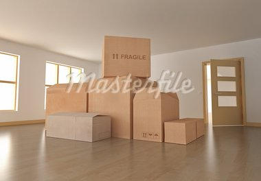 Empty room with boxes. 3D rendered image. Stock Photo - Royalty-Free, Artist: spongecake                    , Code: 400-05371359
