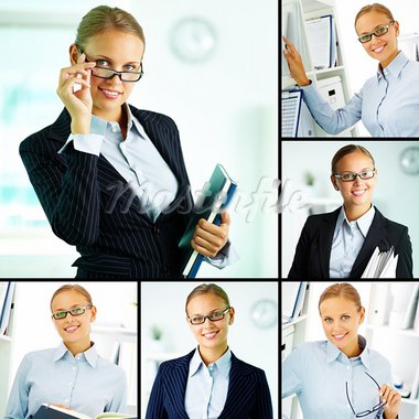 Collage of confident businesswoman looking at camera Stock Photo - Royalty-Free, Artist: pressmaster                   , Code: 400-05372503
