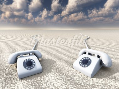 Old Rotary Phones in Barren Landscape Stock Photo - Royalty-Free, Artist: rolffimages                   , Code: 400-05373759