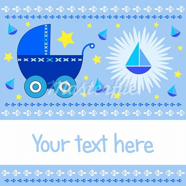 Baby boy arrival greeting card with blue stroller, sailboats and stars with copy space. Also available as a Vector in Adobe illustrator EPS format. The vector version can be scaled to any size without loss of quality. Stock Photo - Royalty-Free, Artist: agcuesta                      , Code: 400-05373784