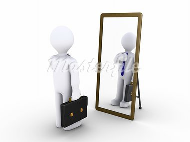 3d businessman looking in a mirror to become presentable Stock Photo - Royalty-Free, Artist: MasterofAll686                , Code: 400-05374363