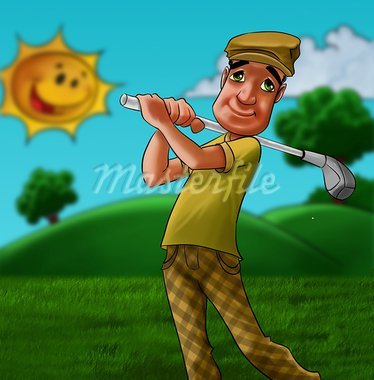 man in a grass field playing golf in a summer day Stock Photo - Royalty-Free, Artist: davisales                     , Code: 400-05375771