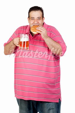 Fat man drinking a jar of beer and eating hamburger isolated on white background Stock Photo - Royalty-Free, Artist: Gelpi                         , Code: 400-05376848