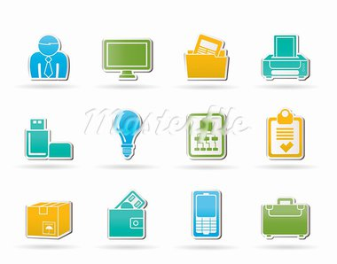 Business and office equipment icons - vector icon set Stock Photo - Royalty-Free, Artist: stoyanh                       , Code: 400-05377168
