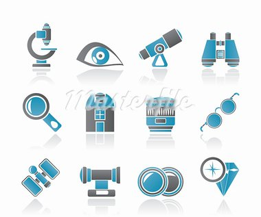 Optic and lens equipment icons - vector icon set Stock Photo - Royalty-Free, Artist: stoyanh                       , Code: 400-05377172