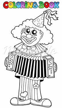 Coloring book with happy clown 1 - vector illustration. Stock Photo - Royalty-Free, Artist: clairev                       , Code: 400-05377352