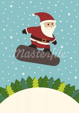 A Christmas image of a snowboarding Santa Claus. Stock Photo - Royalty-Free, Artist: NKoster                       , Code: 400-05378830