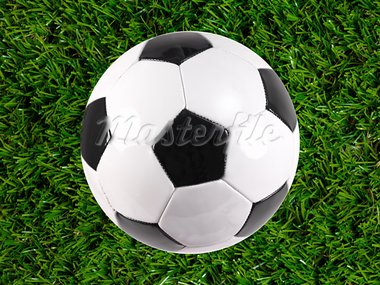 Black and white soccer balls isolated on artificial grass Stock Photo - Royalty-Free, Artist: Kitch                         , Code: 400-05379128