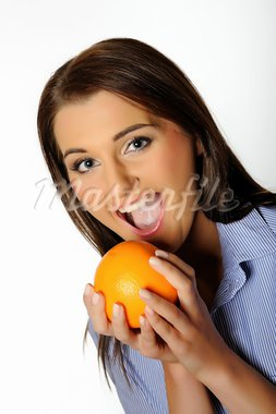 young beautiful woman with citrus orange fruit. isolated on white background Stock Photo - Royalty-Free, Artist: smartfoto                     , Code: 400-05379382