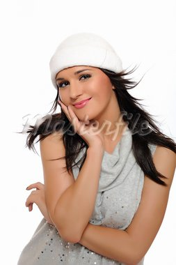 Expressions. Beautiful winter girl in a hat smiling. isolated on white background Stock Photo - Royalty-Free, Artist: smartfoto                     , Code: 400-05379390