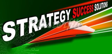 Plane red Paper with written strategy success solutions, a metaphor for success and leadership Stock Photo - Royalty-Free, Artist: catalby                       , Code: 400-05379424