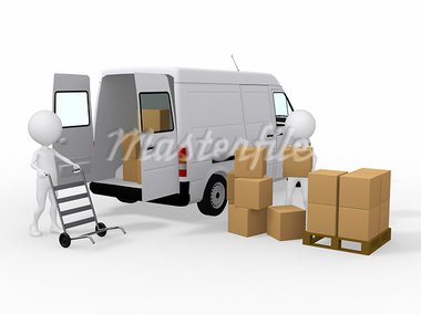 3d workers loading boxes to a van Stock Photo - Royalty-Free, Artist: dacasdo                       , Code: 400-05380814