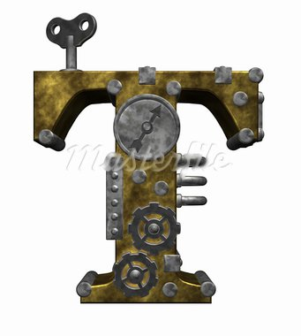 steampunk letter t on white background - 3d illustration Stock Photo - Royalty-Free, Artist: drizzd                        , Code: 400-05382123