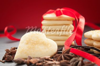 Heart shaped homemade butter cookies with aromatic spices. Stock Photo - Royalty-Free, Artist: mythja                        , Code: 400-05382608
