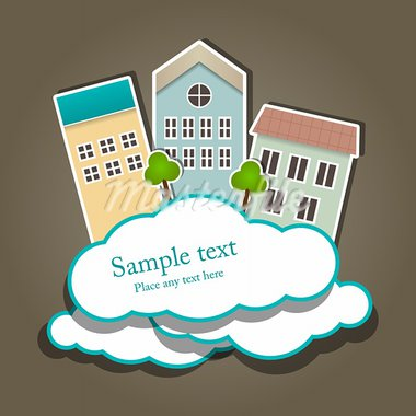 Vector paper composition with clouds and buildings Stock Photo - Royalty-Free, Artist: 578foot                       , Code: 400-05383508