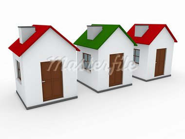 3d house home red green estate sale Stock Photo - Royalty-Free, Artist: dak                           , Code: 400-05384120
