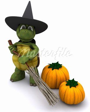3D Render of a tortoise dressed as a witch for halloween Stock Photo - Royalty-Free, Artist: kirstypargeter                , Code: 400-05384268