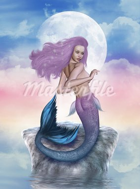 3d render of a mermaid Stock Photo - Royalty-Free, Artist: ancello                       , Code: 400-05385005