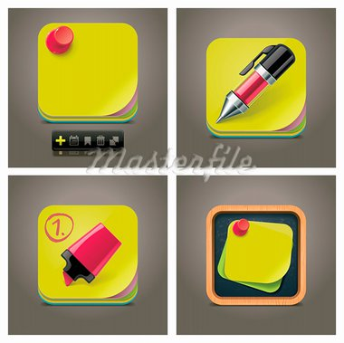 Detailed yellow sticky note reminders square icons Stock Photo - Royalty-Free, Artist: tele52                        , Code: 400-05385367
