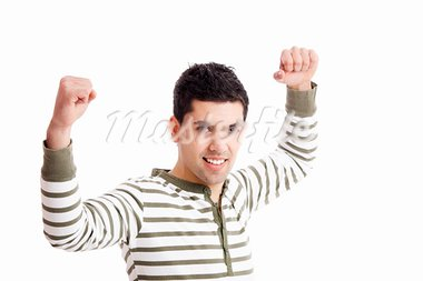 Happy young man with arms up isolated on a white background Stock Photo - Royalty-Free, Artist: iko                           , Code: 400-05385551