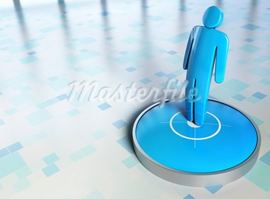 blue character onto a target with checkered background Stock Photo - Royalty-Free, Artist: olivier26                     , Code: 400-05386427