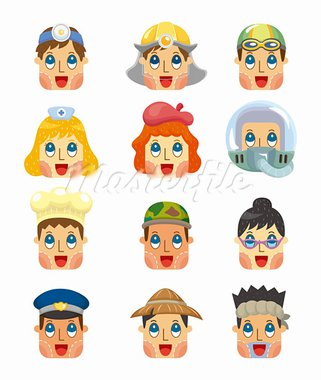 cartoon people job face icons set Stock Photo - Royalty-Free, Artist: notkoo2008                    , Code: 400-05386777