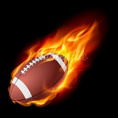 Realistic American football in the fire. Illustration on white background. Stock Photo - Royalty-Free, Artist: dvarg                         , Code: 400-05387123