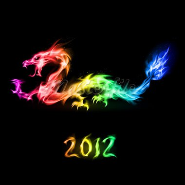 Abstract fiery rainbow dragon. Illustration on black background for design Stock Photo - Royalty-Free, Artist: dvarg                         , Code: 400-05387125