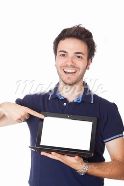 Man Holding Netbook with Blank Screen Stock Photo - Royalty-Free, Artist: William87                     , Code: 400-05388577