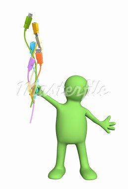 3d puppet with usb cables. Isolated over white Stock Photo - Royalty-Free, Artist: frenta                        , Code: 400-05388773
