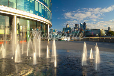 Water Fountains at London City Hall and View of Financial District, Southwark, London, England Stock Photo - Premium Rights-Managed, Artist: Jason Friend, Code: 700-05389546
