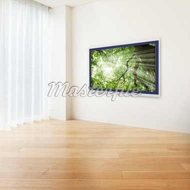 There is a LCD TV in the wall of the room. Stock Photo - Premium Royalty-Freenull, Code: 6106-05404334