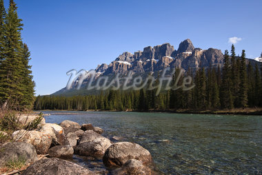 Castle Mountain in Banff National Park Stock Photo - Premium Royalty-Freenull, Code: 6106-05415658